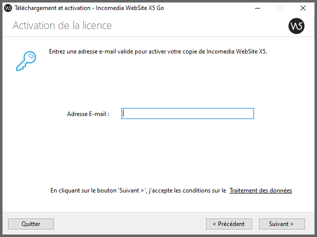 Activation de la licence gratuite WebSite x5 go.