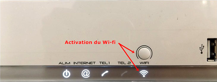 Le bouton d'activation WIFI Box bouygues.