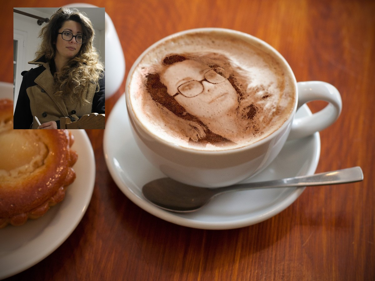 Montage photo sans Photoshop tasse de café et portrait.