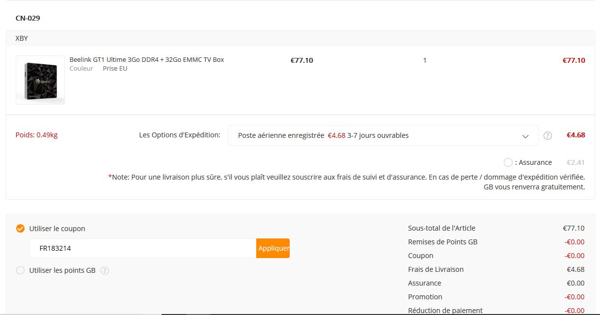 Code réduction Gearbest